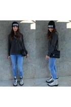 silver Dr Martens boots - blue Alcott jeans - black hat - gray H&M sweatshirt