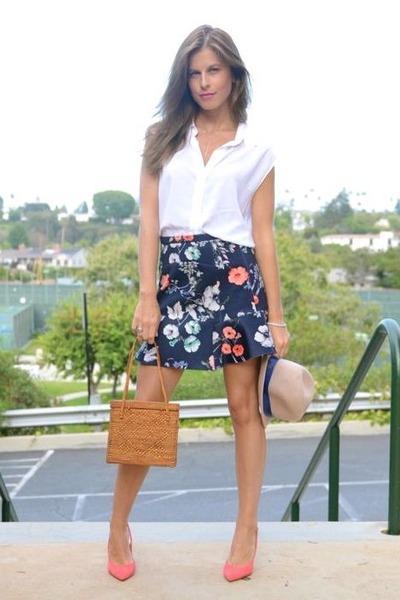 floral Zara skirt - Anthropologie hat - BCBGeneration shirt