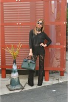 evergreen Aldo purse - see-through madewell shirt - lace Lush pants