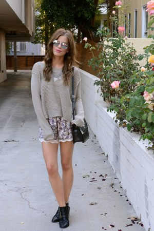 knit LF sweater - Shoedazzle boots - vintage purse - silk lace Zara shorts
