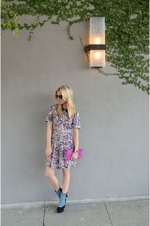 purple Marc by Marc Jacobs watch - denim Madison Harding boots - asos dress