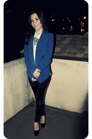 black H&M leggings - blue f21 blazer - beige f21 blouse - black Aldo pumps
