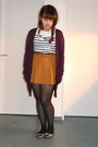 Black-spotted-new-look-tights-magenta-primark-cardigan-navy-striped-h-m-top-