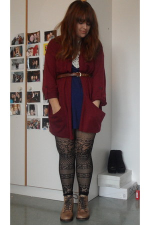 tan Topshop boots - brick red Topshop cardigan - black new look tights - blue Pr