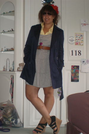 gray H&M dress - yellow H&M shirt - purple new look - H&M - black next shoes - b