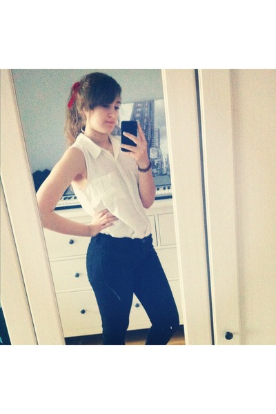 white blouse - black jeans