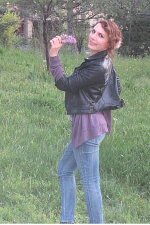 curve id Levis jeans - black Bershka jacket - puce Urban cardigan