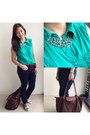 Dark-brown-longchamp-bag-turquoise-blue-forever-21-top-navy-mango-pants