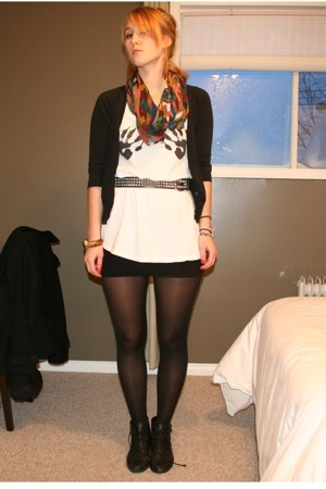 hlens top - H&M skirt - H&M tights - vintage belt - Monki shoes