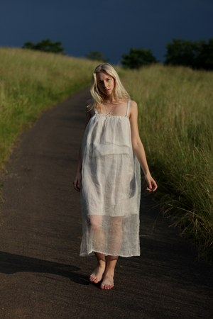 white silk handmade dress