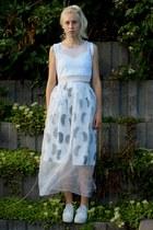 white silk cotton handmade skirt - heather gray handmade bag