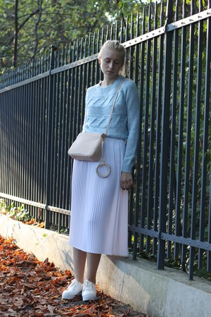 white vintage skirt - white platform asos sneakers - light blue Vila jumper
