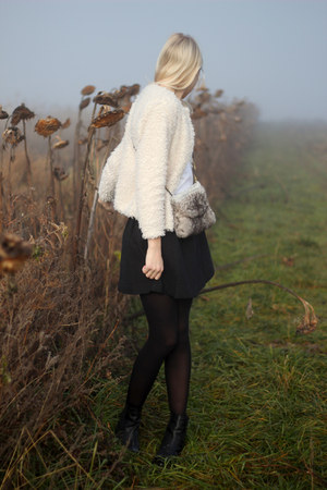 heather gray handmade bag - black Monki skirt - cream H&M cardigan