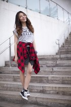 black quilted Finders Keepers skirt - red plaid shirt Urban Outfitters shirt