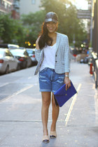 stripes blue Jcrew blazer - blue J Brand shorts - espadrilles Chanel flats