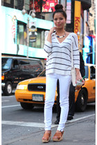 white Zara jeans - nauti Jcrew necklace - striped Forever 21 top