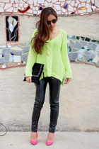 neon orange Zara pumps - neon green Zara sweater - J Brand leggings
