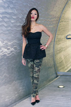 black peplum H&M top - camo prints Zara pants - strap Zara pumps