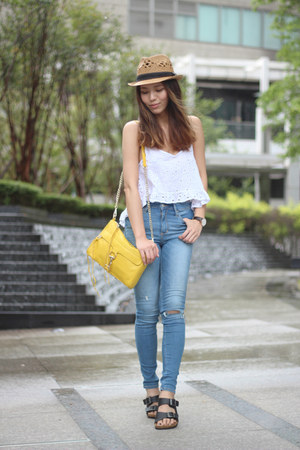 blue abercrombie and fitch jeans - bronze straw hat Forever 21 hat
