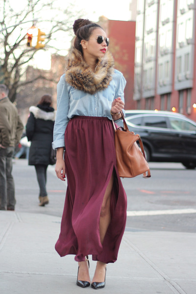 olivia palermo meli melo bag - aviator ray-ban sunglasses - burgundy Zara skirt