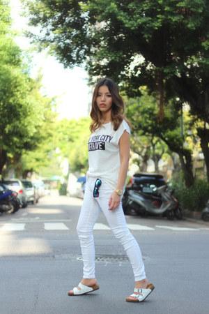 white white Mango top - white leather Birkenstock sandals - white J Brand pants