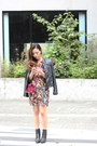 Black-rag-bone-boots-floral-print-yumi-kim-dress