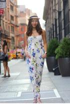 ivory floral print TFNC jumper - tan straw hat Eugenia Kim hat