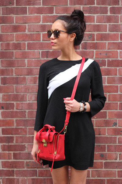 red red satchel 31 Phillip Lim bag - sporty stripe Zara dress