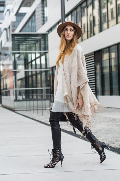 beige TK Maxx cape - ivory Mango dress - camel Zara hat - black H&M pants