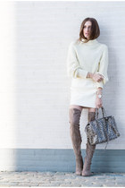 off white American Apparel sweater - tan asos boots