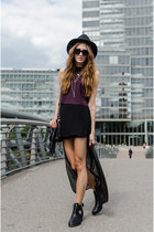 black sunglasses - magenta asos top - black H&M skirt