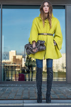 yellow H&M coat - charcoal gray Peter Kaiser boots - navy Levis jeans