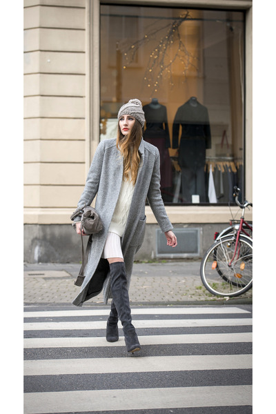 heather gray Zara coat - charcoal gray Peter Kaiser boots - white Mango dress