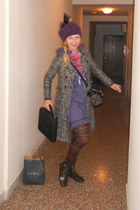 black STUDIO 1940 coat - heather gray Topshop boots - light purple Diesel dress