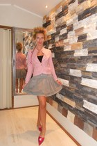 peach Topshop jacket - heather gray skirt - hot pink unique From Spanish sandals
