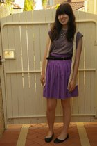 purple Miss Shop skirt - yellow Kookai vest - purple Secondhand top - black Seco