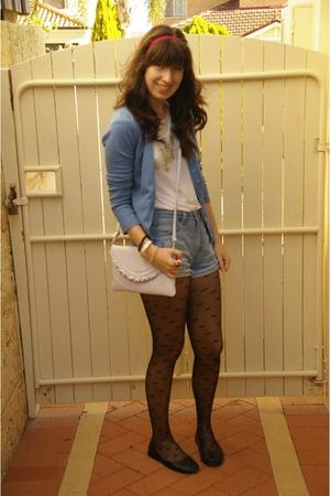 white Miss Shop shirt - blue Sportsgirl shorts - blue cotton on cardigan - black