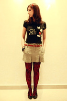skirt - stockings - stockings - t-shirt - shoes - belt