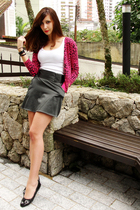 pink c&a jacket - black shoes - white white tank top Hering shirt - black skirt