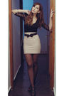 Beige-skirt-black-belt-black-blouse-black-purse-black-stockings-black-
