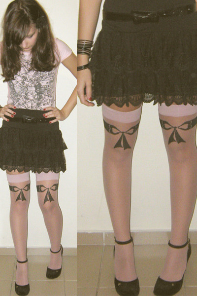 black lace skirt Hot Topic skirt - black Melissa shoes - pink shirt