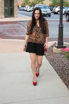 red alloy heels - brick red Forever 21 bag - black Old Navy shorts