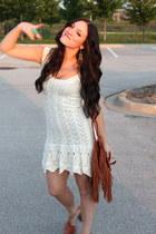 cream Victorias Secret dress - tawny Rachel Zoe bag - green modcloth ring