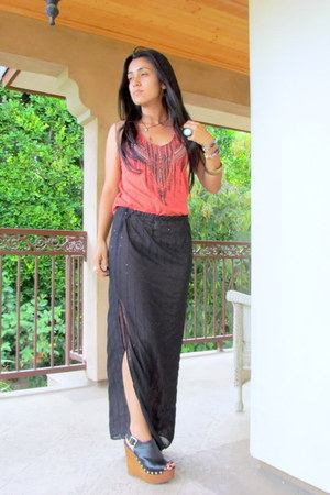 DIY Lisa Summer skirt - Urban Outfitters shirt - Soda wedges
