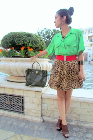 brown Jones New York skirt - forest green Bueno bag - red Forever 21 belt