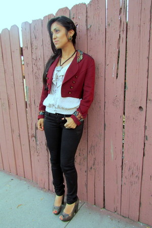 biker Watch LA jeans - cropped Thrift Store blazer - ruffled Urban Outfitters sh
