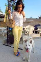camel oslenboye bag - off white Forever 21 blouse - blue iPromiseu wedges