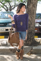 purple blouse - blue Mango shorts