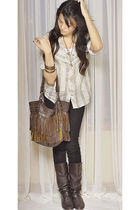black jeans - brown boots - brown Chloe purse