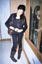 black blazer - brown boots